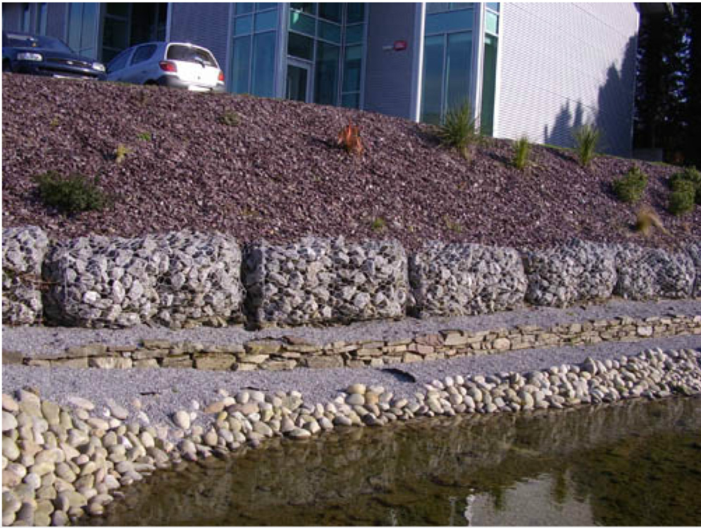 Plum Slate Mulch used on an incline