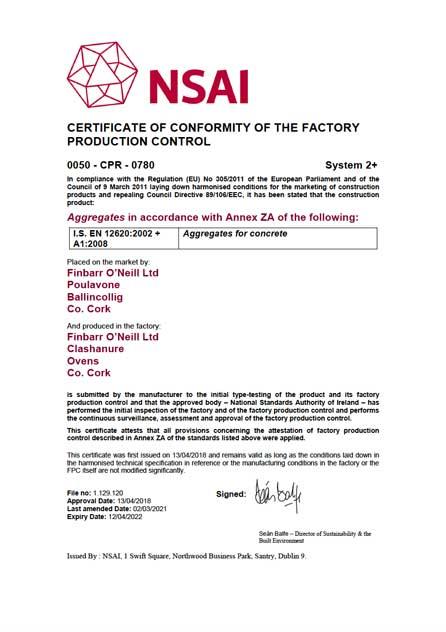 Finbarr O'Neill Certificate of Conformity 12620