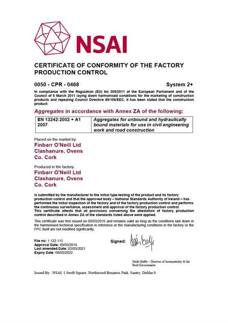 Finbarr O'Neill Certificate of Conformity 13242