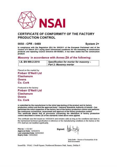Finbarr O'Neill Certificate of Conformity 998